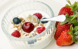 Prima colazione sana della frutta e del yogurt. Immagini Stock