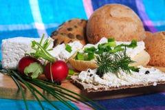 Prima colazione sana, sandwich, ricotta Immagine Stock