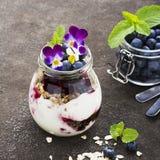 Prima colazione sana in un barattolo di vetro: yogurt, purè della bacca, intero cereale del cereale del grano, fiori commestibili Fotografia Stock
