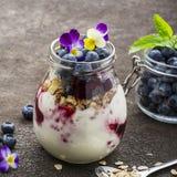 Prima colazione sana in un barattolo di vetro: yogurt, purè della bacca, intero cereale del cereale del grano, fiori commestibili Fotografie Stock Libere da Diritti