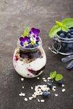 Prima colazione sana in un barattolo di vetro: yogurt, purè della bacca, intero cereale del cereale del grano, fiori commestibili Immagine Stock Libera da Diritti