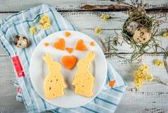 Prima colazione sveglia e divertente per il giorno o Pasqua del ` s del biglietto di S. Valentino Fotografia Stock Libera da Diritti