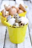 Prima colazione, uova, funghi su una tavola di legno Fotografia Stock Libera da Diritti