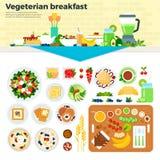 Prima colazione vegetariana sulla tavola Fotografia Stock