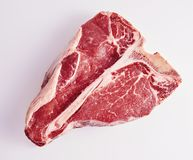 A prima cortou o bife do lombo cru macio para um BBQ fotos de stock royalty free