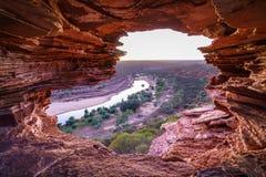Prima di alba alla finestra delle nature nel parco nazionale di kalbarri, Australia occidentale 4 immagine stock libera da diritti