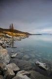 Prima di sunsire ai posti di paradiso in Nuova Zelanda/lago del sud Tekapo Immagini Stock