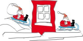 Prima e dopo - il Babbo Natale Immagini Stock Libere da Diritti