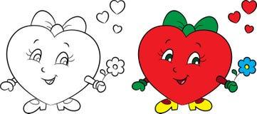 Prima e dopo l'illustrazione di un poco ragazza-cuore, a colori ed in bianco e nero, per il libro da colorare dei bambini o la ca illustrazione vettoriale