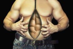 Prima e dopo la dieta e l'allenamento Isolato sul nero Fotografia Stock