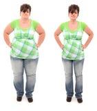 Prima e dopo peso eccessivo una donna di 45 anni Fotografie Stock Libere da Diritti