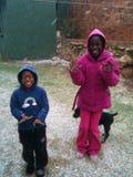 Prima esperienza in neve fotografie stock