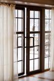 prima finestra esterna della neve di s Immagini Stock