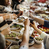 Prima folkmassa för frunch som äter middag matalternativ som äter begrepp fotografering för bildbyråer