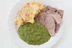 Prima gotująca się wołowina z szpinakiem i grulami obraz stock