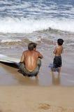 Prima lezione praticante il surfing Immagine Stock Libera da Diritti