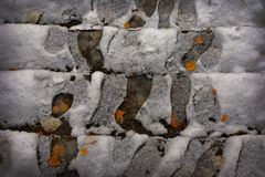 Prima neve su pavimentazione di pietra Immagini Stock Libere da Diritti