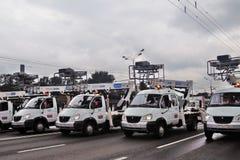 Prima parata di Mosca di trasporto della città Immagini Stock