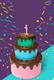 Prima rappresentazione della torta di compleanno 3d royalty illustrazione gratis