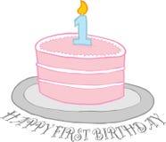 Prima torta di compleanno felice Fotografia Stock