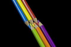 6 primaire en Secundaire Gekleurde Potloden Stock Afbeelding