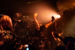 Primal Fear at Legend Club MI 03-10-2018. Milan, Italy - October 3, 2018: German power metal band PRIMAL FEAR performs at Legend Club. Brambilla Simone Live News royalty free stock images