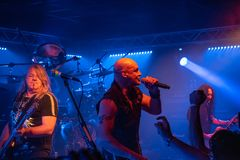Primal Fear at Legend Club MI 03-10-2018. Milan, Italy - October 3, 2018: German power metal band PRIMAL FEAR performs at Legend Club. Brambilla Simone Live News royalty free stock image
