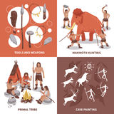 Primal Tribe People Concept Icons Set. Flat isolated vector illustration Stock Photo