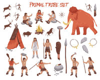 Primal Tribe People Icons Set. With weapon and animals flat isolated vector illustration Royalty Free Stock Photos