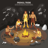 Primal Tribe People Illustration. Primal tribe people with cave painting symbols flat vector ilustration Stock Images