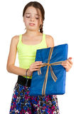 Primary Age Girl Disappointed to Receive a Gift Stock Photography