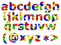 Primary Alphabet Series. Colorful illustration of fun primary colored alphabet series: lower case Royalty Free Stock Photography