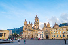 Primary Cathedral of Bogota, historic and religous. BOGOTA, COLOMBIA - FEBRUARY 9, 2015: Primary Cathedral of Bogota, historic and religous landmark, located in Stock Images