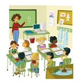 PRIMARY CLASS. Primary pupils learning a lesson vector illustration