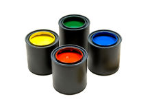 Primary Coloed Paints Stock Photo