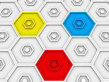 Primary colored hexagons stand out. Of sea of white ones Stock Photos