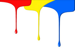Primary colored paints. Illustration of dripping primary colored paints, isolated on white background Stock Image
