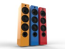 Primary colored speakers. Isolated on white background Stock Images