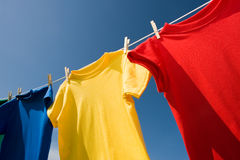 Primary Colored T-Shirts stock images