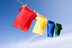 Primary Colored T-Shirts stock photos