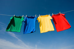 Primary Colored T-Shirts stock image