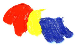 Primary colors acrylic paint. On a white background stock photography