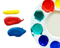 Primary colors blob and palette on white background Stock Photos