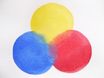 3 primary colors, blue red yellow watercolor painting circle. Round on white paper texture background Stock Image