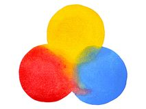 3 primary colors, blue red yellow watercolor painting circle. Round on white paper texture background Royalty Free Stock Photo