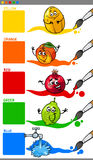 Primary colors with cartoon fruits Royalty Free Stock Photos