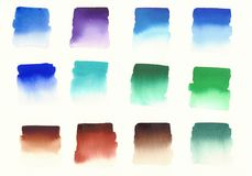 Primary colors cold palette watercolor. Primary colors swatches cold palette watercolor background Royalty Free Stock Photo