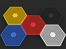 Primary colors in hexagon shapes. On dark background Royalty Free Stock Image