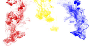 Primary colors ink drop in water Royalty Free Stock Images