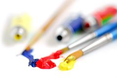 Primary colors paintbrush Royalty Free Stock Image